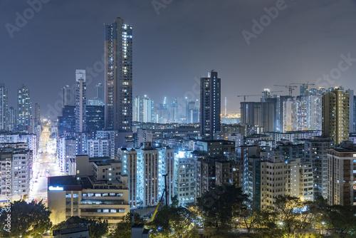 Skyline of Hong Kong city at night Poster