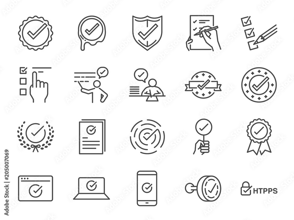 Fototapety, obrazy: Check mark icon set. Included the icons as correct, verified, certificate, approval, accepted, confirm, check List and more