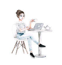 Watercolor Girl Work At Cafe W...