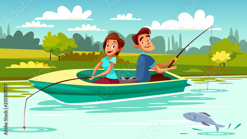 Couple Fishing Vector Illustration Of Young Man And Woman In Boat
