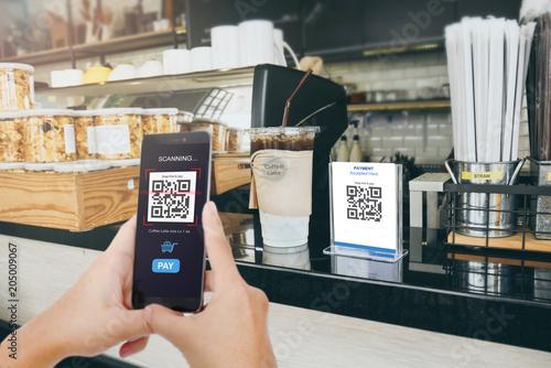 Fotografie, Obraz  Qr code payment, E wallet , cashless technology concept