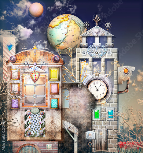 Poster Imagination Surreal city with mysterious buildings