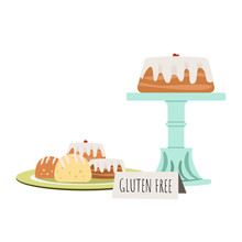 Cake On Retro Cake Stand With ...