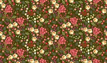 Seamless Ditsy Floral Pattern With Roses, Tulips, Leaves And Petals On Dark Green Background. Vector Summer Design.
