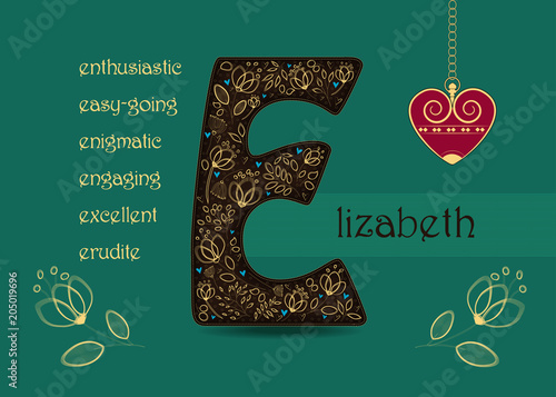 Name day greeting card with flowers and letter e buy this stock name day greeting card with flowers and letter e m4hsunfo