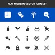 Modern, simple vector icon set with kid, clean, hammer, soap, concept, web, tool, pram, device, spanner, computer, , bed, human, finger, equipment, liquid, child, wrench, time, bedroom, cup, tea icons