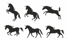 Set Of Unicorns Silhouettes. F...