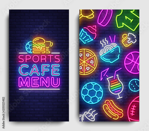 Sport Cafe Menu Vertical Banners Design Template Sports Cafe Menu