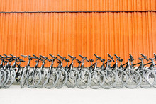 Rental Bikes Parked In Row At ...