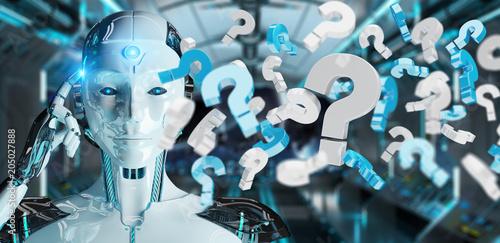 Fotobehang Stof White robot using digital question marks 3D rendering