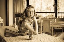 Woman In Vintage Dress, 1950s ...
