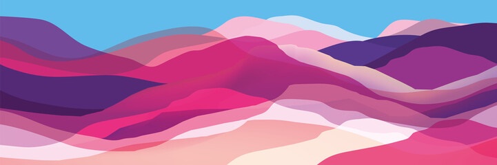 Color mountains, waves, abstract shapes, modern background, vector design Ill...