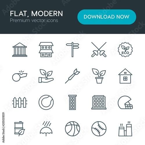 Fotografie, Tablou  Modern Simple Set of sports, nature, buildings Vector outline Icons