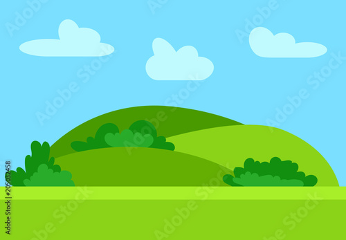 Tuinposter Lichtblauw Natural cartoon landscape in the flat style with green hills, blue sky and clouds at sunny day. Vector illustration