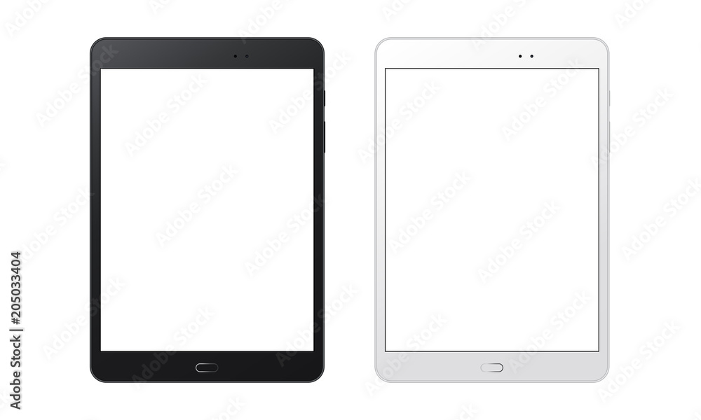 Fototapeta Black and white tablet computers mockups with blank screens. Responsive screens to display your mobile web site design. Vector illustration