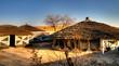 Leinwanddruck Bild - Traditional Ndebele hut at Botshabelo, Mpumalanga, South Africa