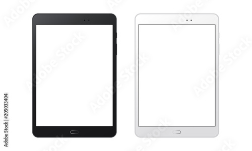 Fotografia  Black and white tablet computers mockups with blank screens