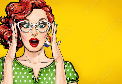 Surprised Pop Art woman in hipster glasses. Advertising poster or party invitation with sexy club girl with open mouth in comic style.