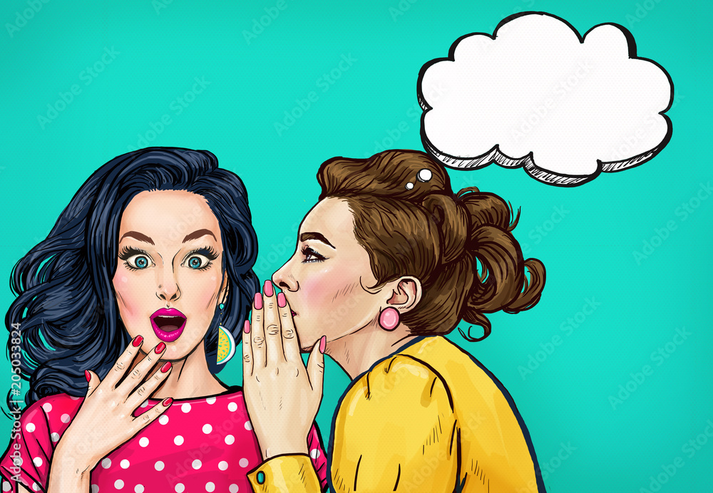 Fototapety, obrazy: Pop art women gossip with thought bubble. Advertising poster or disco flayer design of female conversation. Two beautiful girls talking about you.