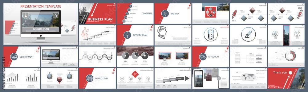 Fototapeta Original presentation templates.Set of red, elements of infographics, white background. Flier, postcard, corporate report, marketing, advertising, banner.Slide show, photo,slide for brochure,booklet