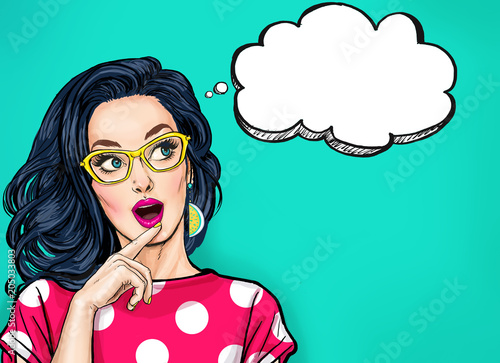 Thinking young sexy woman with open mouth looking up on empty bubble.Pop Art girl is thought and holding hand near the face