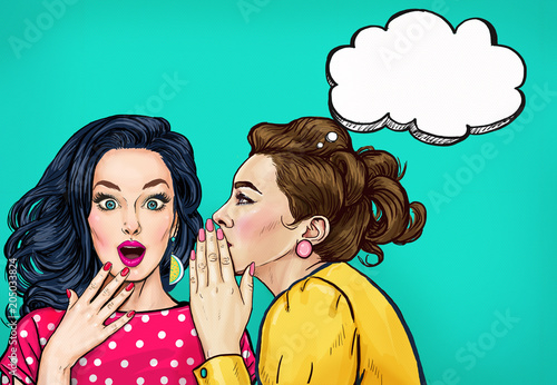 Pop art women gossip with thought bubble. Advertising poster or disco flayer design of female conversation. Two beautiful girls talking about you.