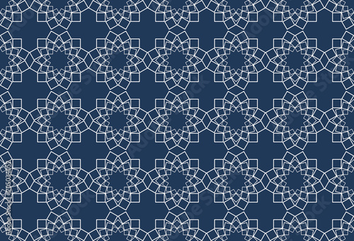 Cotton fabric 3d rendering. ABstract Seamless White sqaure in star shape on blue background.