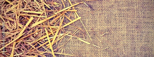 Foto background of  jute fabric and straw barn