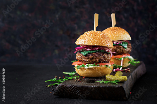 Big sandwich - hamburger burger with beef,  tomato, basil cheese and arugula.