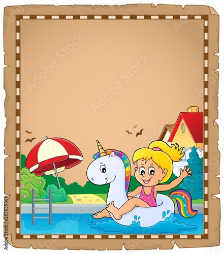 Tuinposter Voor kinderen Parchment with girl floating on unicorn