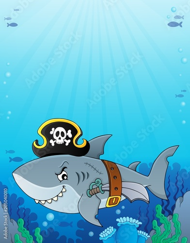 Tuinposter Voor kinderen Pirate shark topic image 6