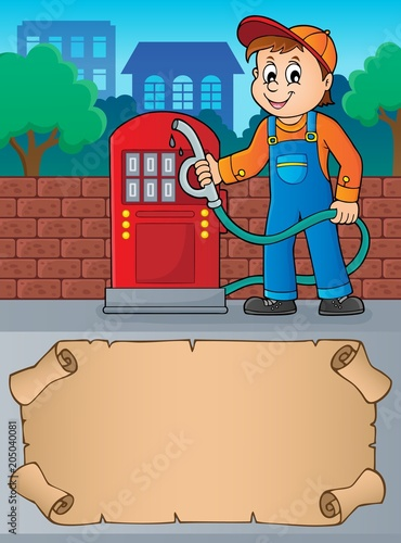 Tuinposter Voor kinderen Small parchment and gas station worker