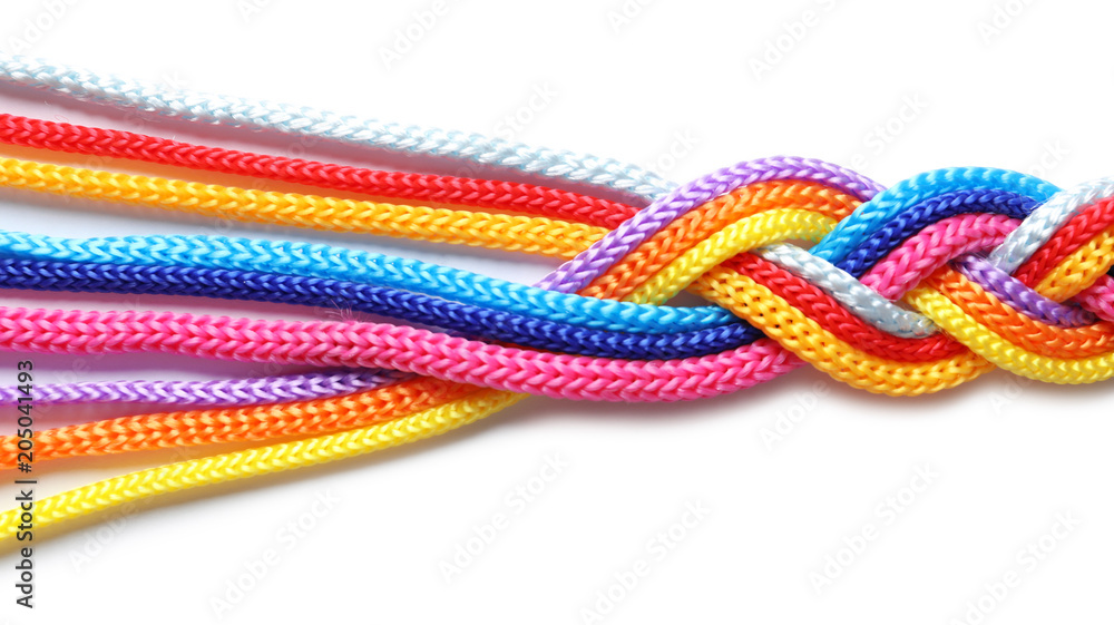 Fototapety, obrazy: Braided colorful ropes on white background. Unity concept