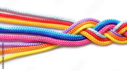 Fényképezés  Braided colorful ropes on white background. Unity concept