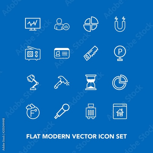 Modern, simple vector icon set on blue background with light