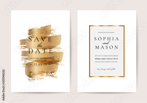 Fototapeta Luxury Wedding Invitation Cards With Golden Texture Minimal Vector Design Template