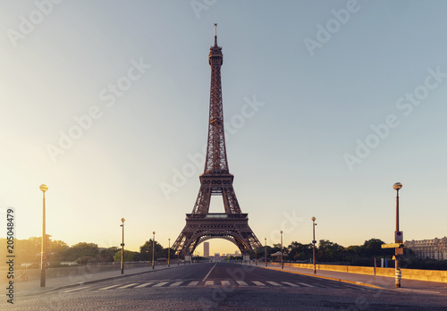 Sunrise at the Eiffel tower, Paris. France