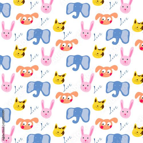 wzor-dzieciecy-w-zwierzeta-rysowane-sloniki-kroliki-i-pieski