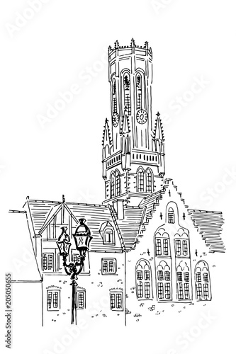 Fotografija Vector sketch of Belfort van Brugge -  famouse 12th-century belfry Belfort of Bruges and Grote Markt square, Belgium