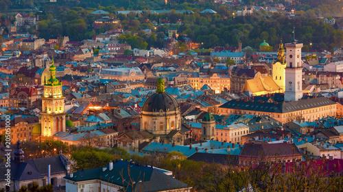 Deurstickers Amsterdam Aerial view of historical old city district of Lviv, Ukraine