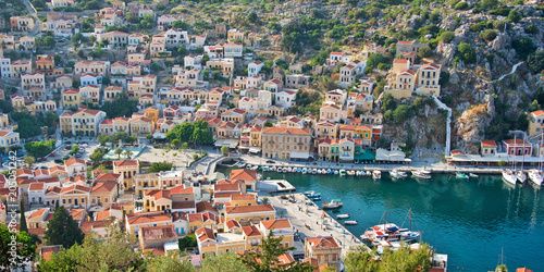Poster Europa Aial panoramiv view of Symi, Dodecanese island, Greece