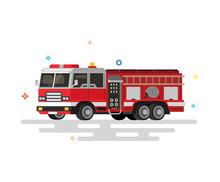 Vector Illustration Of Flat Fire Engine.