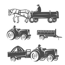Horse With Cart And Tractors.