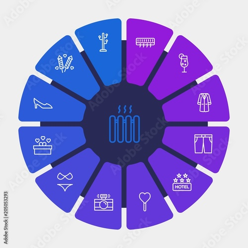 Photo hotel, clothes, valentine Infographic Circle outline Icons Set