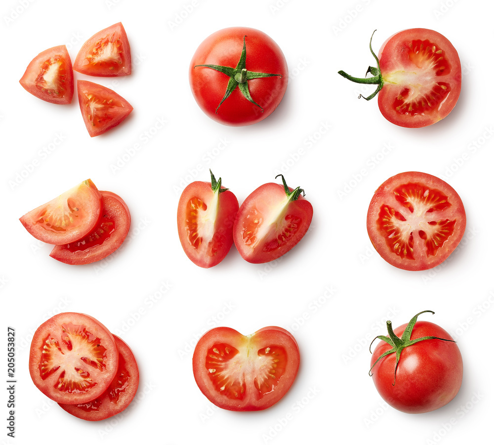 Fototapety, obrazy: Set of fresh whole and sliced tomatoes