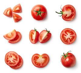 Fototapeta Set of fresh whole and sliced tomatoes