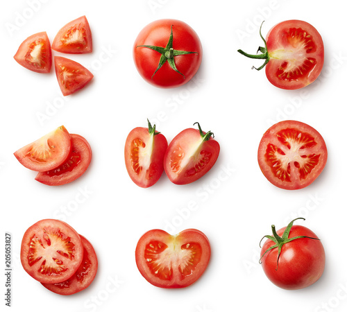 Foto Set of fresh whole and sliced tomatoes