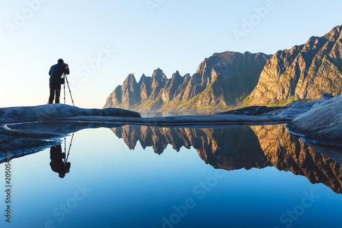 In de dag Noord Europa Photographer at Tungeneset, Senja, Northern Norway