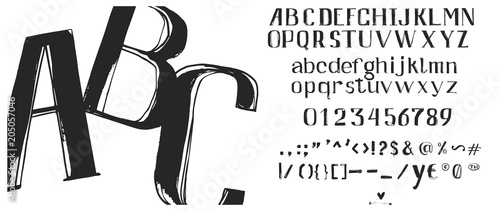 Valokuvatapetti Hand drawn brush ink vector ABC letters set
