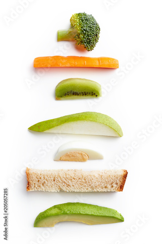 Baby finger food isolated on white from above isolated